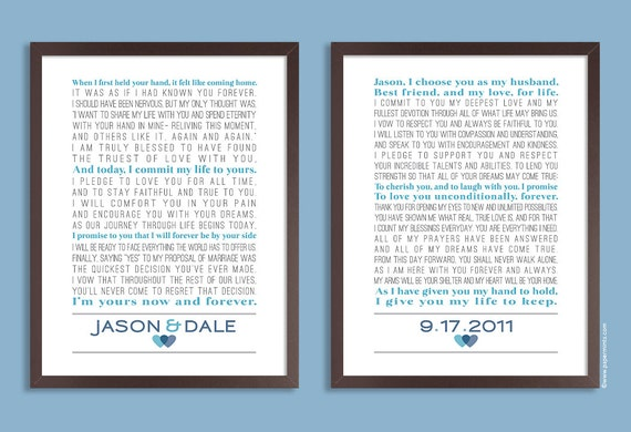 Personalised Wedding Vow Gifts : ... lyrics, poem, vows ) Wedding gift, Anniversary gift, Custom colors