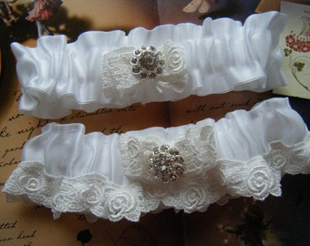 White Venice Lace on White Satin Garter Set