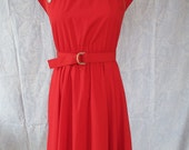 The Red Waitress Diner Red Button Belted 1960s Day Dress