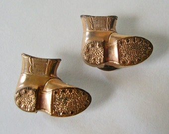 Unusual Antique Cufflinks Gold-Plated Work Boots Keep on Truckin'