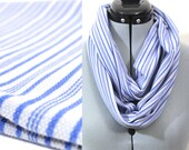 Blue and Grey Striped Circle Infinity Scarf