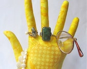 Reverse Applique Sunny Checked Fabric STURDY Heart in Hand Jewelry Display HAND-Stand