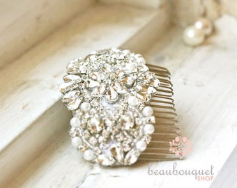 Bridal Haircomb Crystal Beaded Rhinestone Headpiece Jewelled Headpiece Wedding Haircomb Bridal Accessories