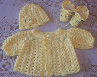 Crochet Baby Girl Sweater Set Layette For Take Me Home Shower Gift
