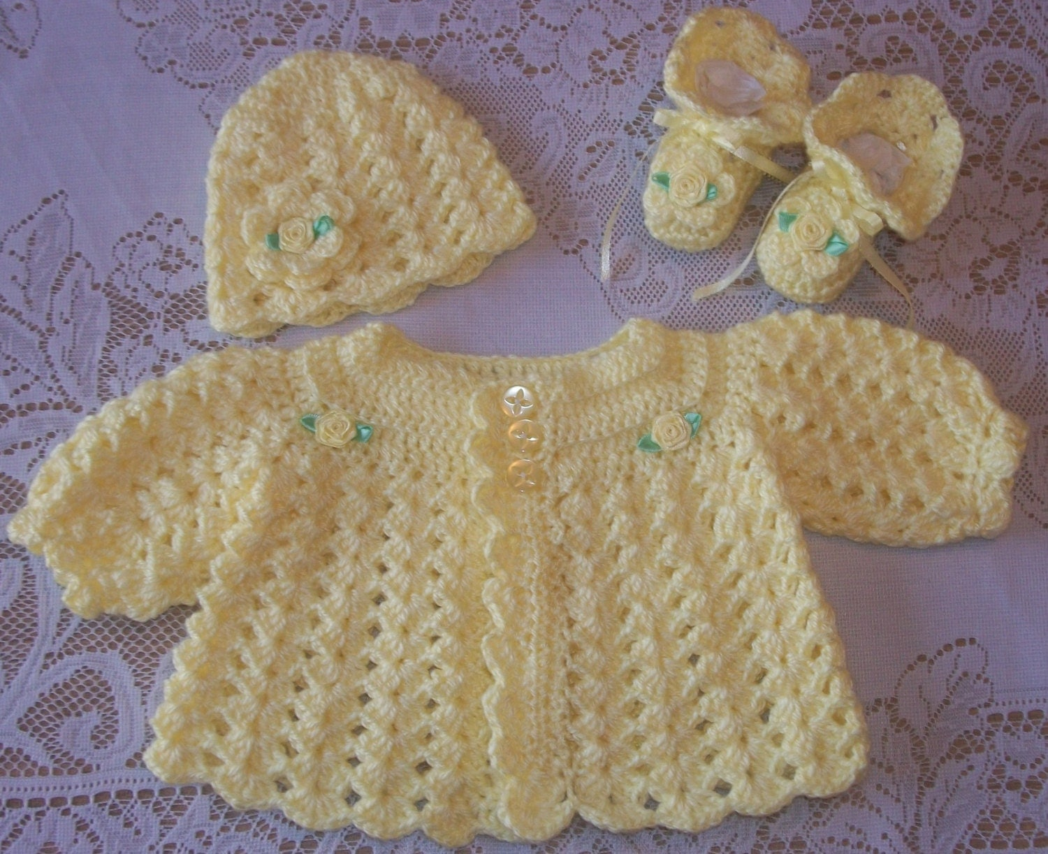 Crochet Baby Girl Sweater Set Layette For Take Me Home Shower