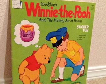 Extra Large Vintage Disney Sticker Book 1973 Whitman Winnie the Pooh Unused