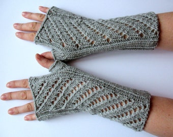 Gray Fingerless Gloves Long Arm Warmers Mittens Soft Acrylic