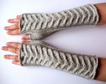 Light Gray Fingerless Gloves 11 inch Arm Warmers Mittens Long Soft Acrylic