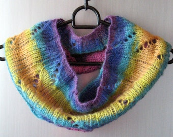 Infinity Scarf Cowl Wrap Purple Violet Blue Yellow Pink Striped