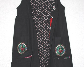 Linen stand-up collar long vest/ Black Long vest dress/ Red Long vest dress