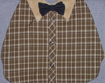 Mens Adult Bib /Special Needs Tan and Brown Plaid Shirt Front Bib