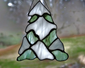 Stained Glass Snowy Pine Suncatcher