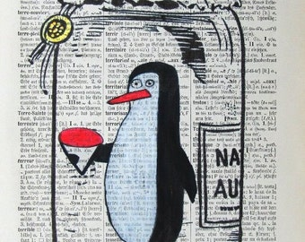 PENGUIN IN JAR giclee print poster mixed media painting illustration drawing