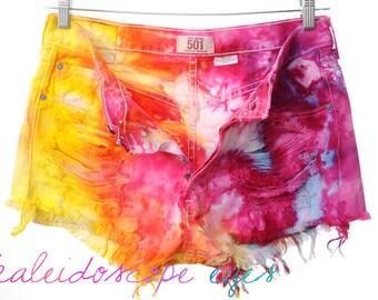 Vintage LEVIS 501 Colorful MARBLED Dyed Destroyed High Waist Denim Cut Off Shorts XL