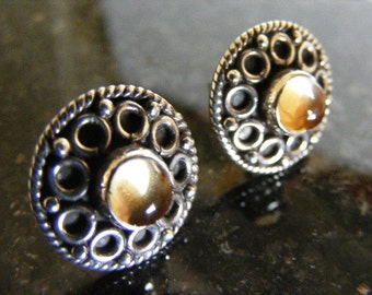 SALE...Was 32.75... Now 18.75...Vintage  Sterling Citrine  Earrings  Lot 2836