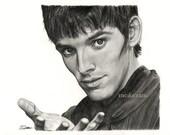 Drawing print Merlin / Colin Morgan - A4