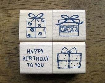 Birthday Giftbox Set Rubber Stamp (4EA)