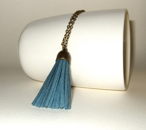 Tassel Necklace, Mid Blue Faux Suede, Boho Jewelry, Petrol Blue, Long Pendant, Simple Necklace, Fringe Tassel, Blue Necklace, Tassel Charm