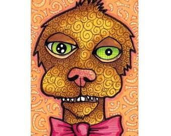 ACEO Original Monster, Cute Fellow with a Bowtie