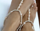 Bridesmaid Barefoot Sandals, Pearl Anklet, Foot Jewelry, Wedding Barefoot Sandals, Earth Tone Color Sandal, 1 Pair