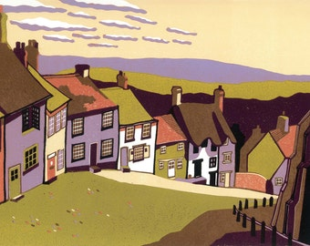 Gold Hill, signed original linocut print, Limited Edition - contemporary fine art
