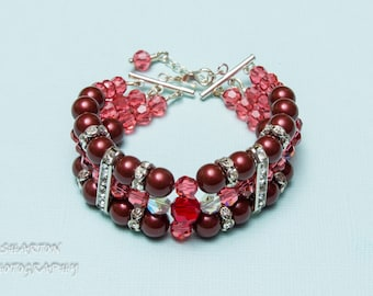 Three strands Bracelet Swarovski Dark cherry /red /ruby White Platinum Bordeaux Dark gray Charcoal