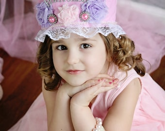 Pink Princess Crown - Party Hat - Photo Prop -  Couture Crown - Princess Dress Up - Birthday Hat