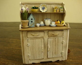 miniature sideboard country shabby chic white. Tuscan style.