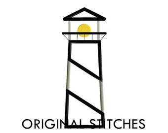 Tall Lighthouse Applique and Machine Embroidery Digital Design File 4x4 5x7 6x10