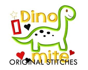 Dino Mite Applique and Machine Embroidery Digital Design File 4x4 5x7 6x10