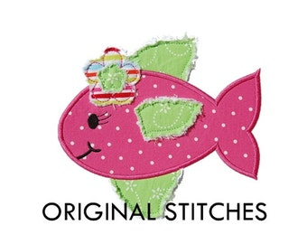 Frayed Flower Fish Applique and Machine Embroidery Digital Design File 4x4 5x7 6x10 7x11
