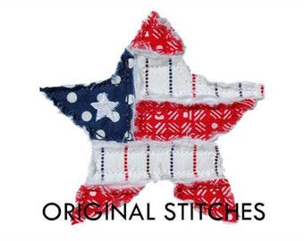 Frayed Star Flag Applique and Machine Embroidery Design File 4x4 5x7 6x10 7x11