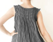 Sale 50% Off, Cotton Round neck Sleeveless Dress in Grey