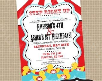 PRINTABLE Vintage Carnival Birthday Party Invite- printable party invitation by Luv Bug Design