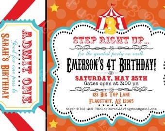 Circus Birthday Party Invitation printable invite by Luv Bug Design