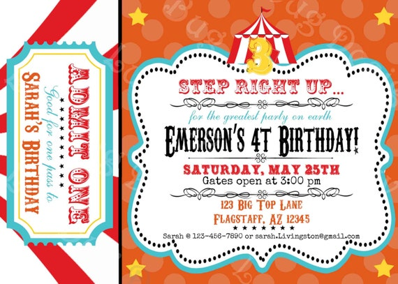 Admit One Circus Ticket Template circus birthday party invitation ...