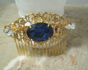"SAPPHIRE Rhinestone GOLD Hair comb 3"" large comb wedding comb bridal accessories bridal comb wedding accessories"