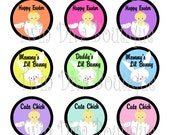 Some Bunny Loves, Happy Easter, Mommy's Lil Bunny -  1 inch image sheets for bottle caps