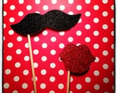 Vintage Wedding Photo Booth Props - 2 piece set - GLITTER  mustache and lips on a stick