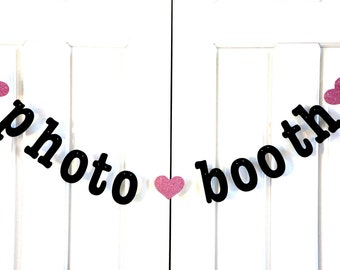 Photo Booth Banner - Wedding Photo Booth Props - you choose GLITTER accent color