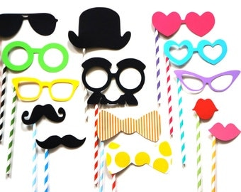 Photo Booth Props on Colorful Striped Straws - 14 piece set - Perfect for Birthdays, Weddings, Parties - Photobooth Props