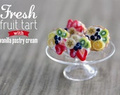 Polymer Clay Miniature Food Jewelry - Fruit Tart Stud Earring