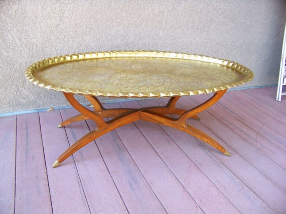 46 Oval Moroccan Brass Tray Table Antique Turkish