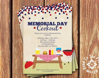 Memorial Day • 4th of July • Labor Day Cookout Party Invitations