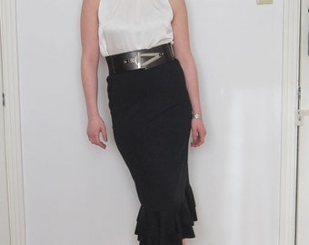 Black High waist Midi Mermaid Fishtail Skirt with Double Flounce (Made to Order)