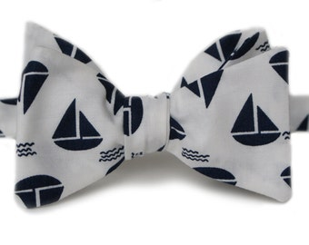 Blue Sail Boat Bow Tie