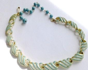 Aqua Enamel Necklace Brides Wedding Glamor Retro Party Jewelry