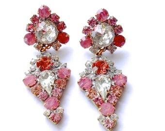 Ballerina Pink Rhinestone Earrings Catwalk Couture Brides Wedding Retro Party Jewelry