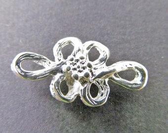 6 Vintage Floral Metalized Plastic Two Loop Metal Connectors Con119