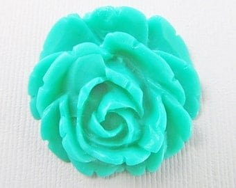 4 Vintage 35mm Turquoise Rose Cabochons Cb59